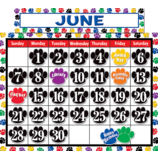 Colorful Paw Prints Calendar Bulletin Board Display Set