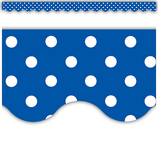 Blue Mini Polka Dots Scalloped Border Trim