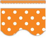 Orange Mini Polka Dots Scalloped Border Trim