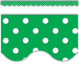 Green Mini Polka Dots Scalloped Border Trim
