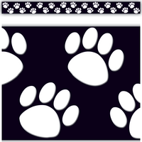 Black/White Paw Prints Straight Border Trim