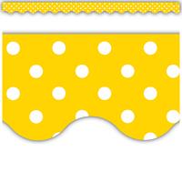 Yellow Mini Polka Dots Scalloped Border Trim