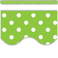 Lime Polka Dots Scalloped Border Trim