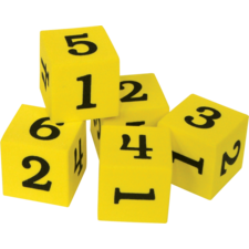 Foam Numbered Dice (Numerals 1-6)