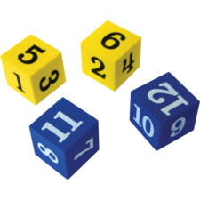 Foam Numbered Dice (Numerals 1-12)