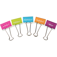 Chevron Days of the Week Large Binder Clips