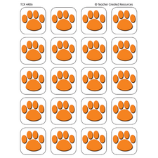 Orange Paw Prints Stickers