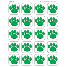 Green Paw Prints Stickers