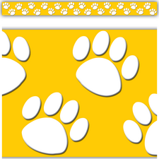 Gold/White Paw Prints Straight Border Trim