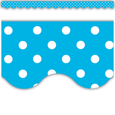 Aqua Mini Polka Dots Scalloped Border Trim