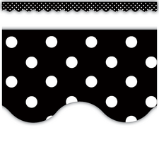 Black Mini Polka Dots Scalloped Border Trim