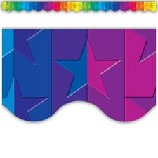 Stars Rainbow Scalloped Border Trim