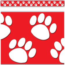 Red/White Paw Prints Straight Border Trim