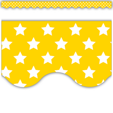 Yellow with White Stars Scalloped Border Trim