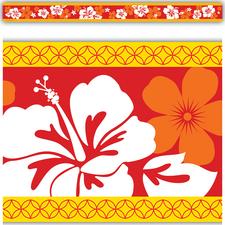 Red Hibiscus Straight Border Trim