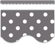 Gray Polka Dots Scalloped Border Trim