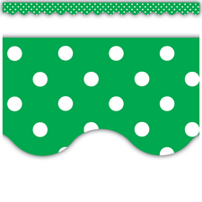 Green Mini Polka Dots Scalloped Border Trim