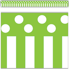 Lime Stripes and Polka Dots Straight Border Trim