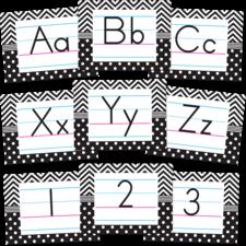 Black & White Chevrons and Dots Alphabet Bulletin Board