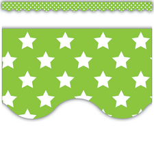 Lime with White Stars Scalloped Border Trim