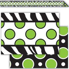 Zebra Green Dot Double-Sided Border