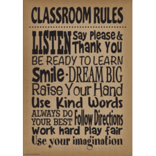 Burlap Classroom Rules Positive Poster