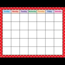 Red Polka Dots Calendar Chart