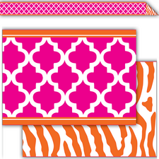 Pink and Orange Wild Moroccan Double-Sided Border