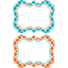 Orange and Teal Wild Moroccan Name Tags/Labels