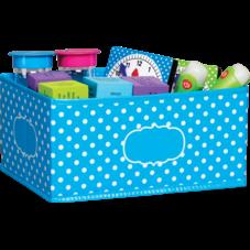 Aqua Polka Dots Small Storage Bin