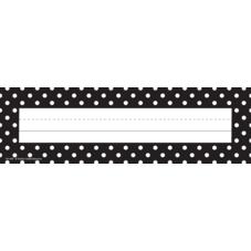 Black Polka Dots Flat Name Plates