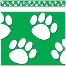 Green/White Paw Prints Straight Border Trim