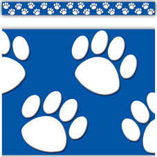 Blue/White Paw Prints Straight Border Trim