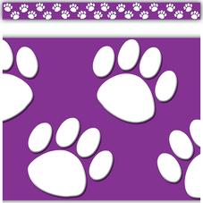Purple/White Paw Prints Straight Border Trim