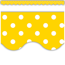 Yellow Mini Polka Dots Scalloped Border Trim