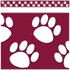 Maroon with White Paw Prints Straight Border Trim