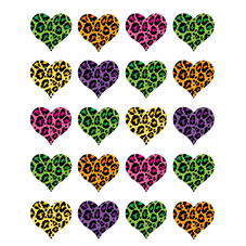 Leopard Print Hearts Stickers