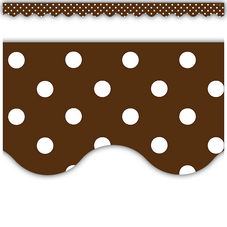 Chocolate Polka Dots Scalloped Border Trim