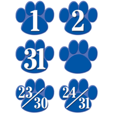 Blue Paw Prints Calendar Days