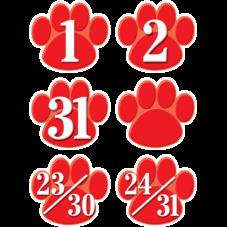 Red Paw Prints Calendar Days