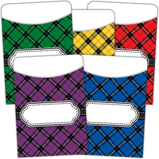 Plaid Library Pockets - Multi Pack