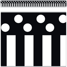 Black Stripes and Polka Dots Straight Border Trim