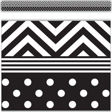 Black & White Chevrons and Dots Straight Border Trim