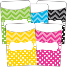 Chevrons and Dots Library Pockets - Multi-Pack