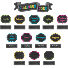 Chalkboard Brights Classroom Jobs Mini Bulletin Board