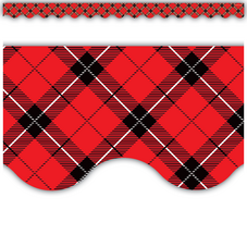 Red Plaid Scalloped Border Trim