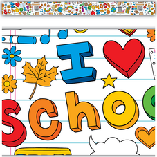 School Doodles Straight Border Trim