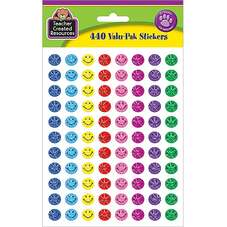 Mini Happy Face Sparkle Stickers Valu-Pak