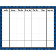 Blue Plaid Calendar Chart