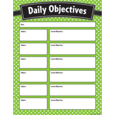 Lime Polka Dots Daily Objectives Chart